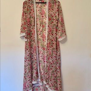 Torrid kimono duster cream pink floral Size 1/2